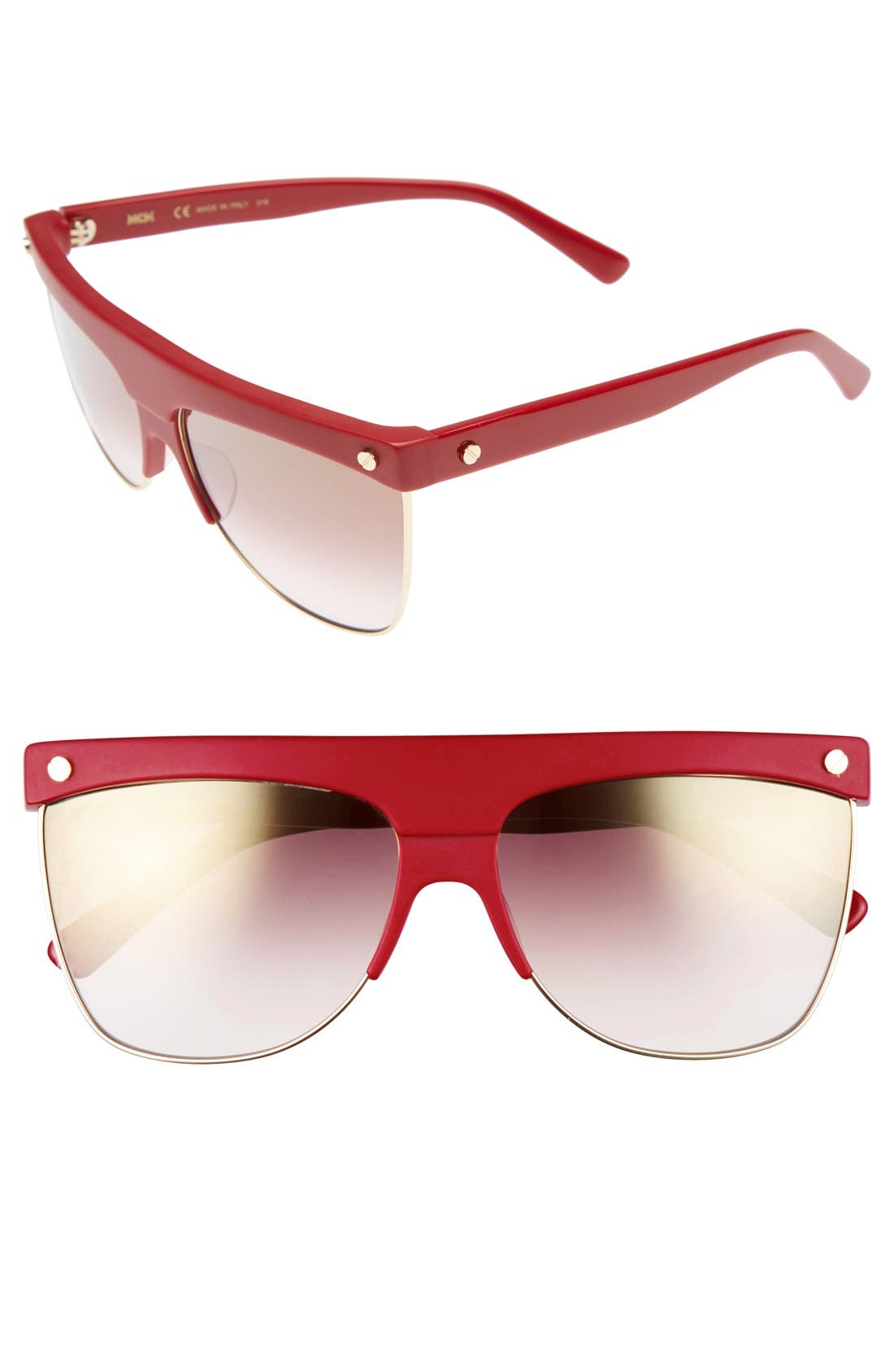 60mm Aviator Sunglasses,                             Main thumbnail 1, color,                             Rouge