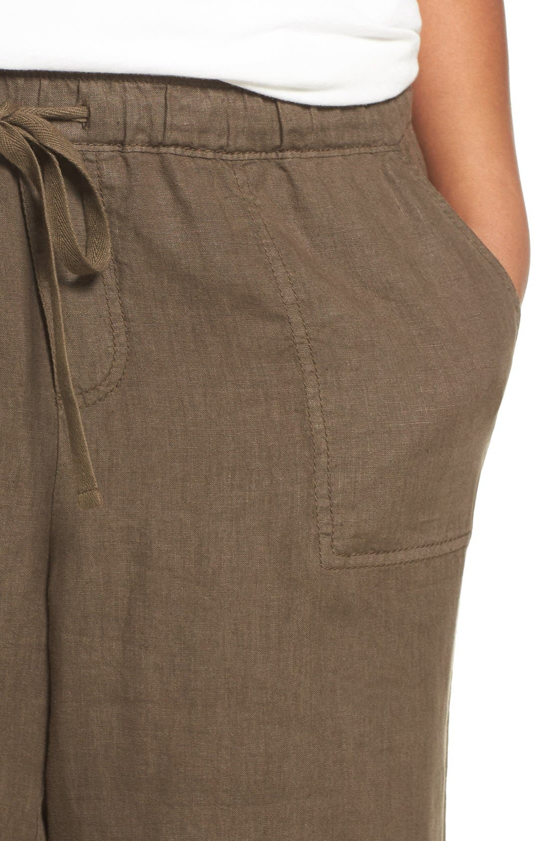 Alternate Image 4  - Caslon® Linen Jogger Pants (Plus Size)