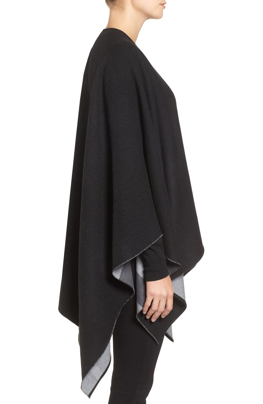 Reversible Merino Wool Cape,                             Alternate thumbnail 3, color,                             Charcoal