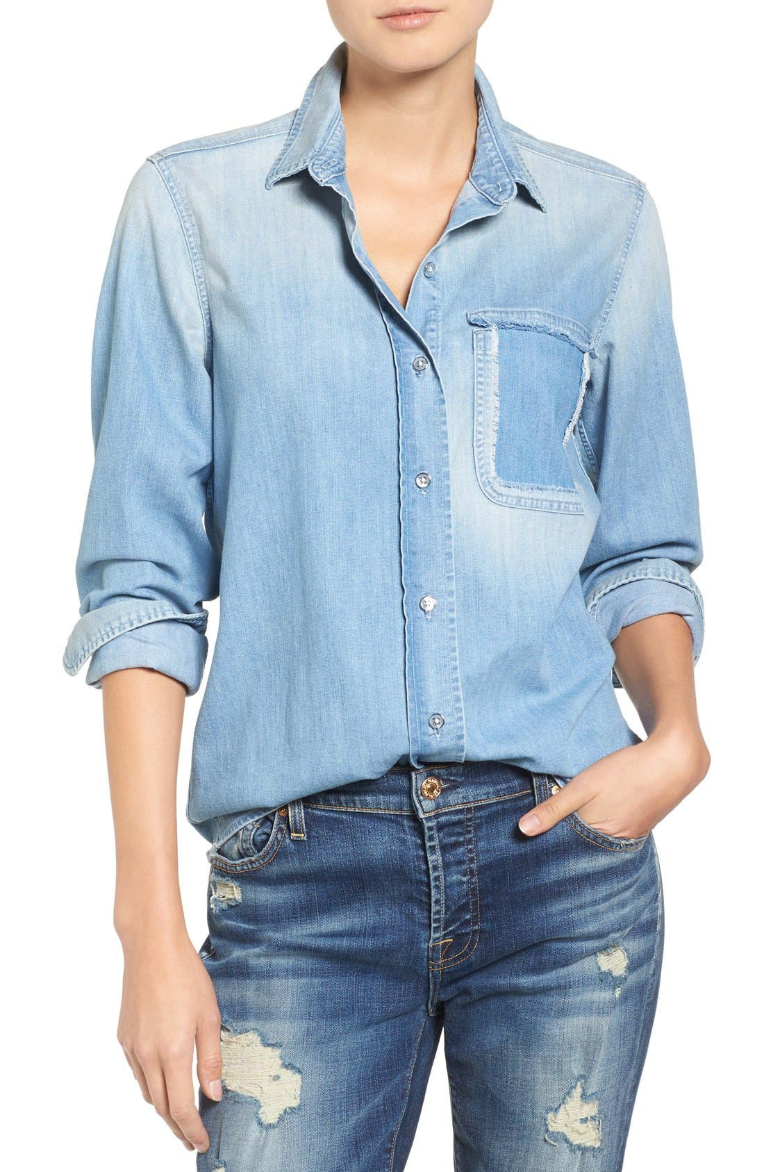 Torn Pocket Denim Boyfriend Shirt,                         Main,                         color, Oceana Authentic Blue