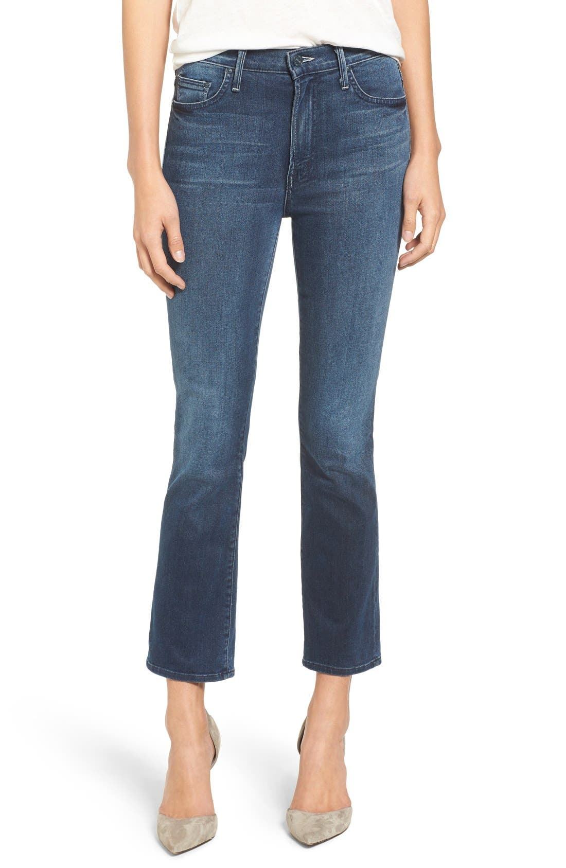 Alternate Image 1 Selected - MOTHER The Insider High Rise Crop Bootcut Jeans (Repeating Love)