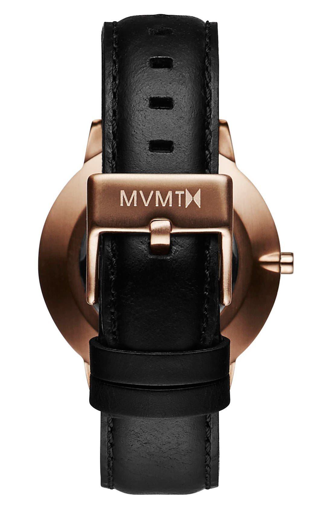 Boulevard Leather Strap Watch, 38mm,                             Alternate thumbnail 2, color,                             Black/ Rose Gold