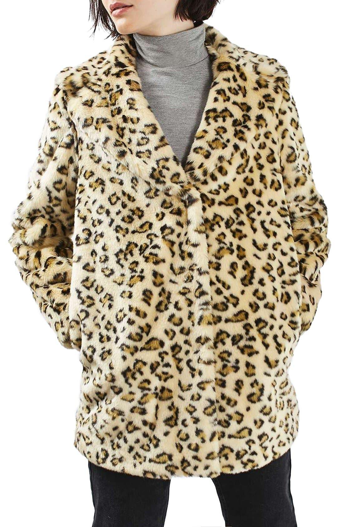 Main Image - Topshop Leopard Faux Fur Coat