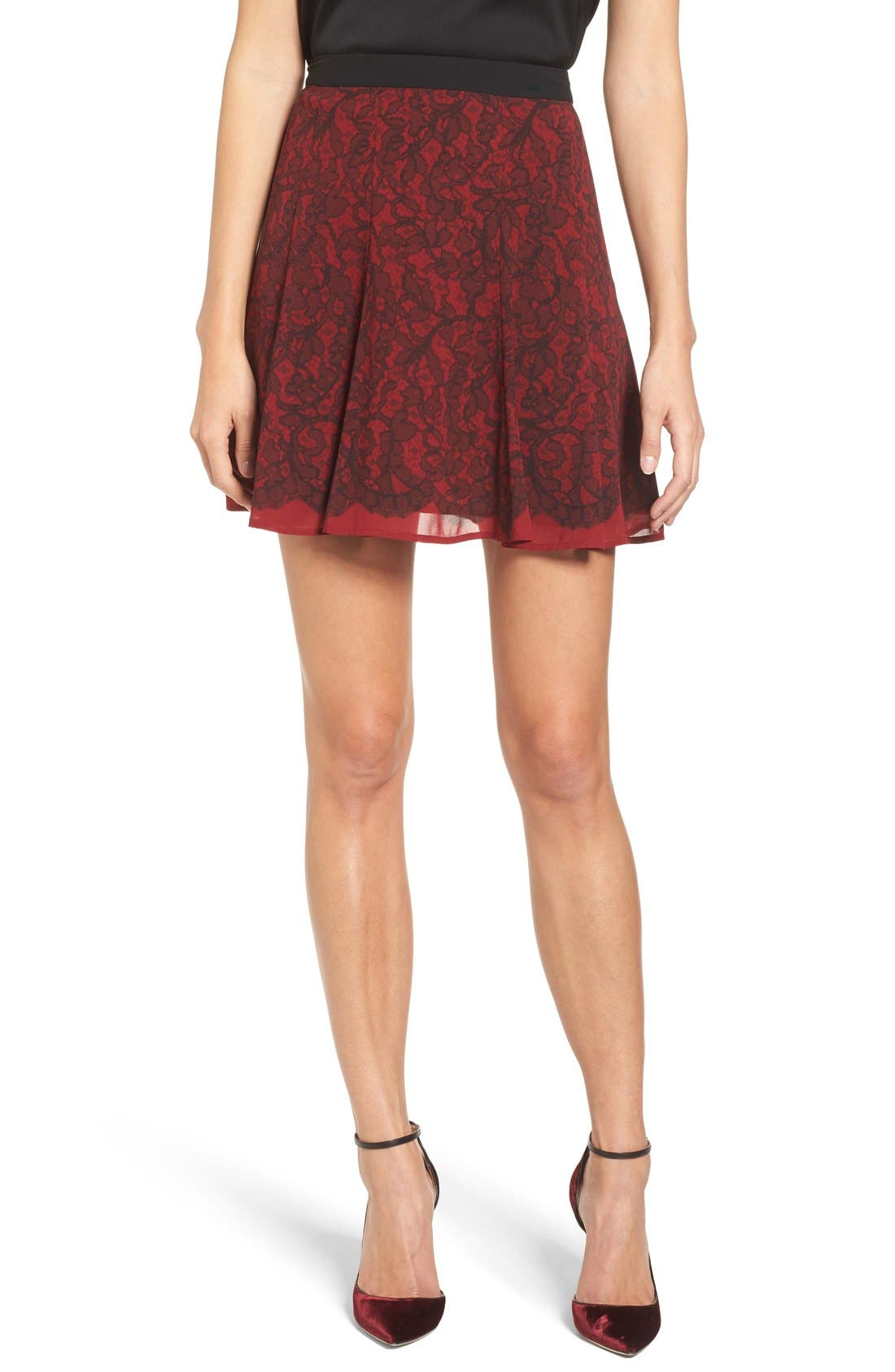 Main Image - MICHAEL Michael Kors Umbria Lace Panel Flare Skirt
