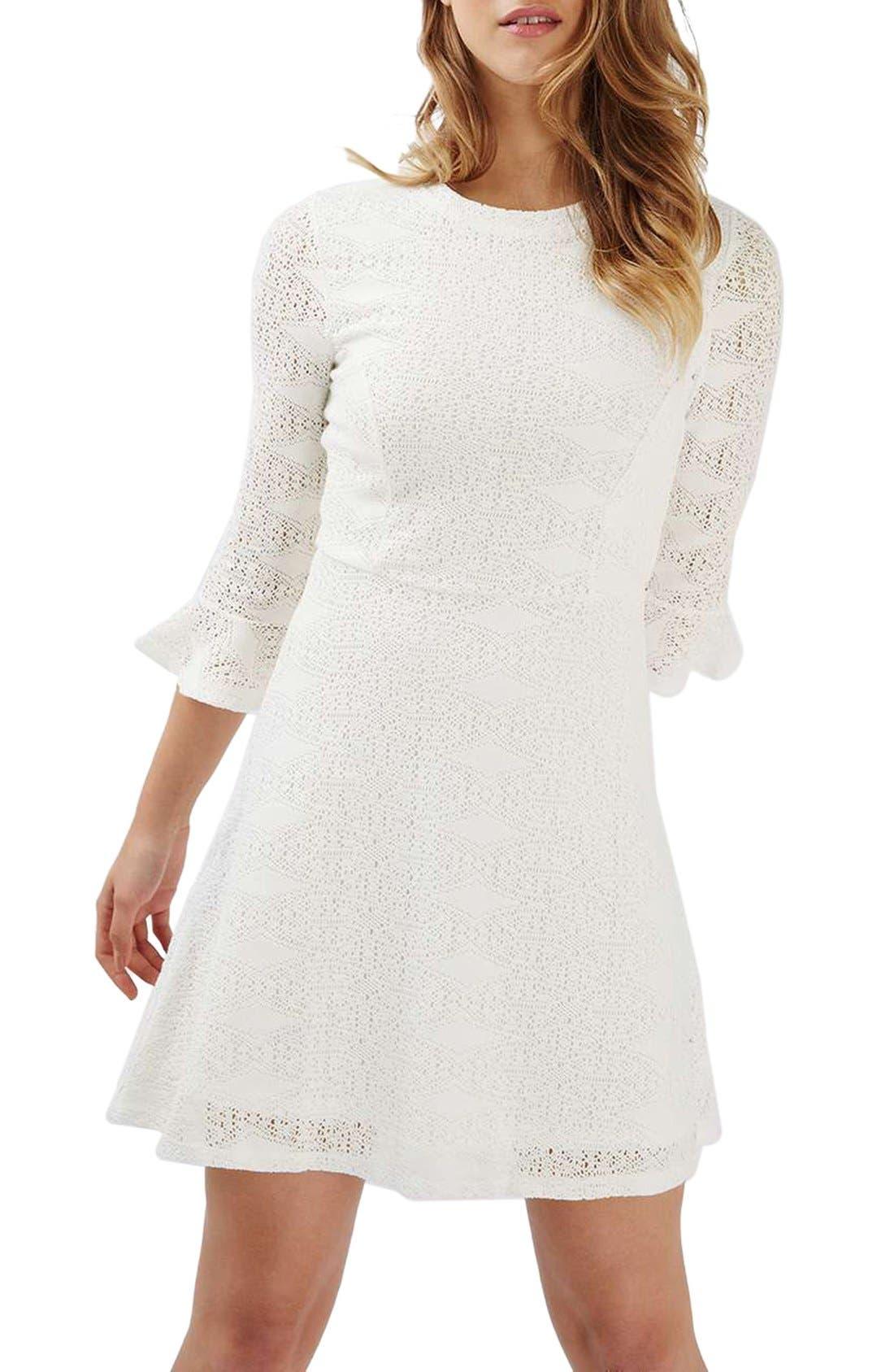 Main Image - Topshop Flute Sleeve Crochet Dress