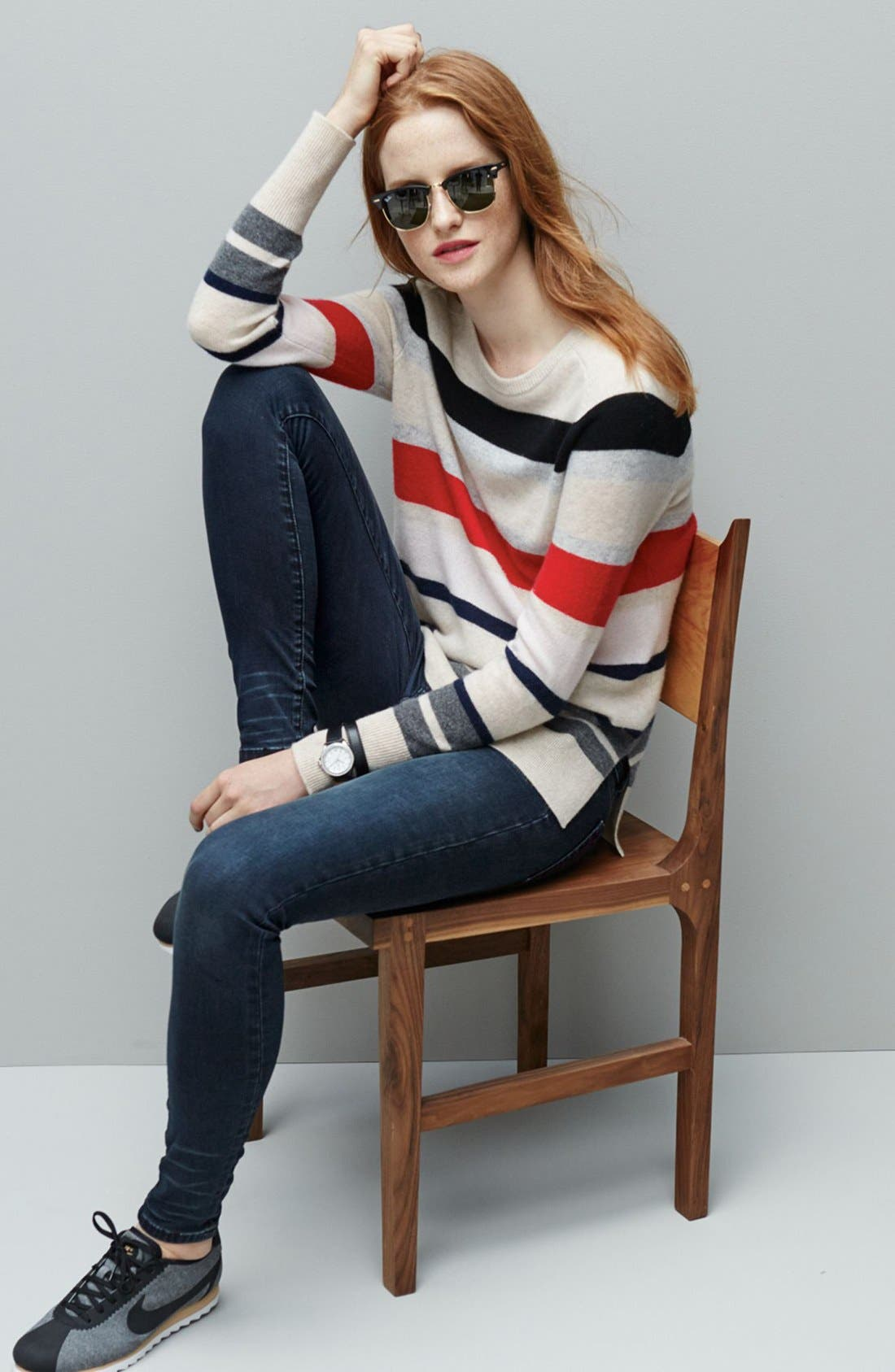 Alternate Image 2  - Halogen® Patterned Cashmere Sweater (Regular & Petite)