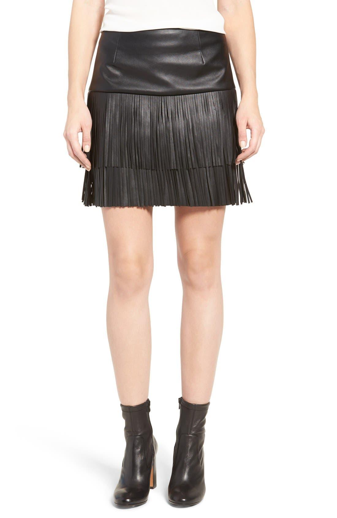 Trouvé Fringe Faux Leather Skirt | Nordstrom