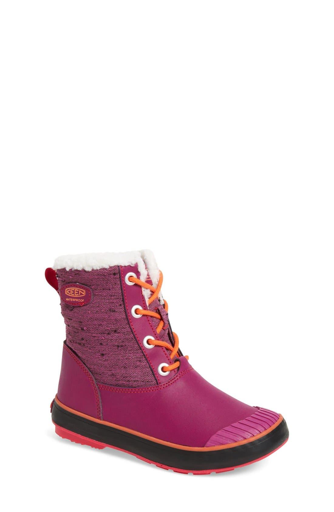 Elsa Waterproof Faux Fur Lined Snow Boot,                         Main,                         color, Purple