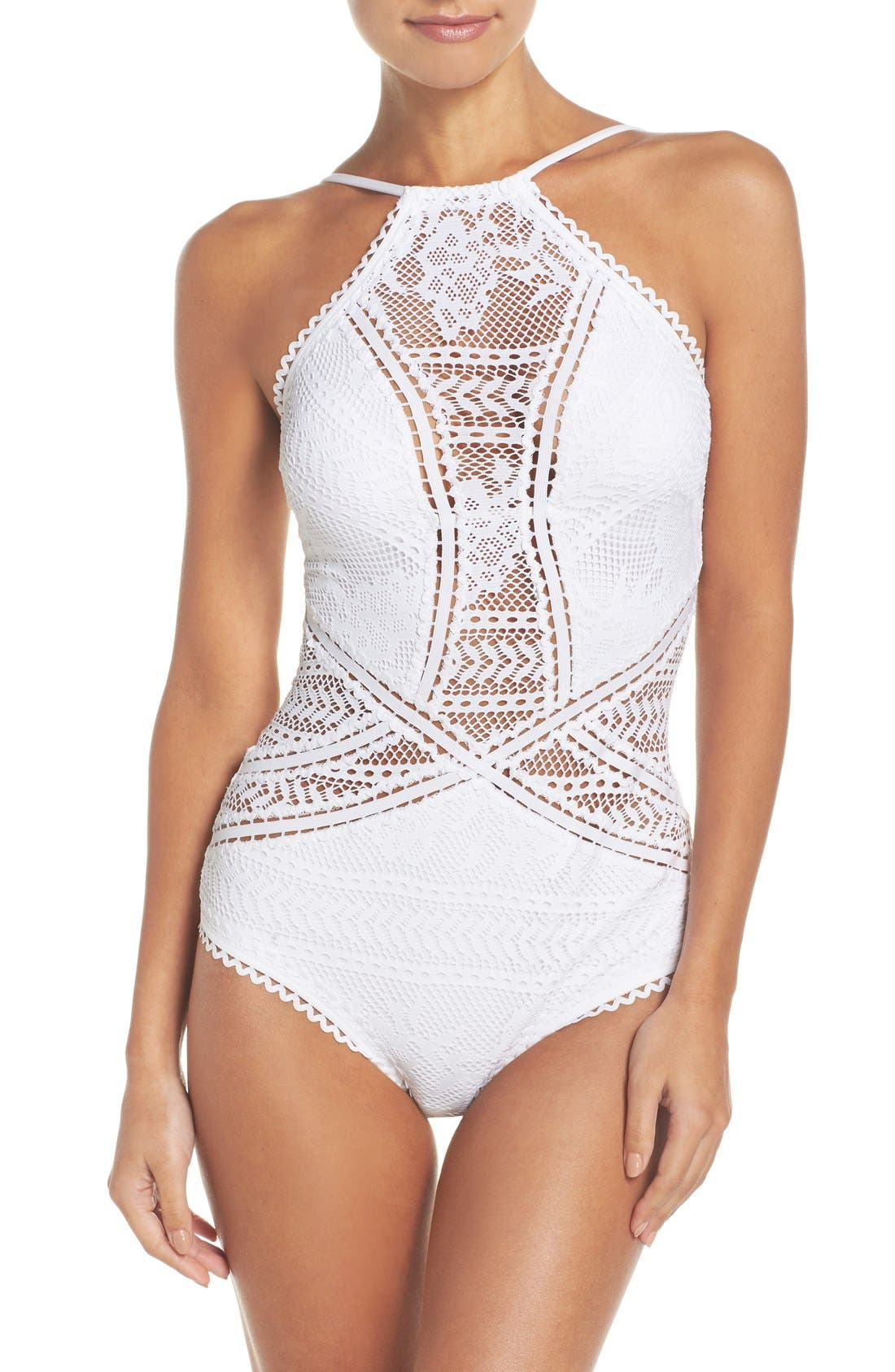 Alternate Image 1 Selected - Becca Prairie Rose Crochet One-Piece Swimsuit