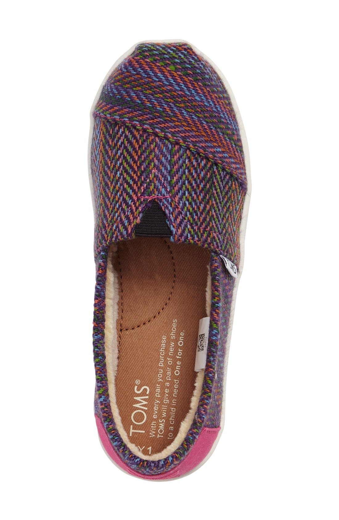 Classic Herringbone Faux Fur Lined Slip-On,                             Alternate thumbnail 3, color,                             Pink