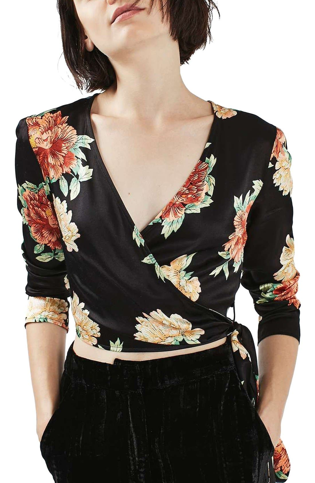 Alternate Image 1 Selected - Topshop Sophia Floral Satin Wrap Top