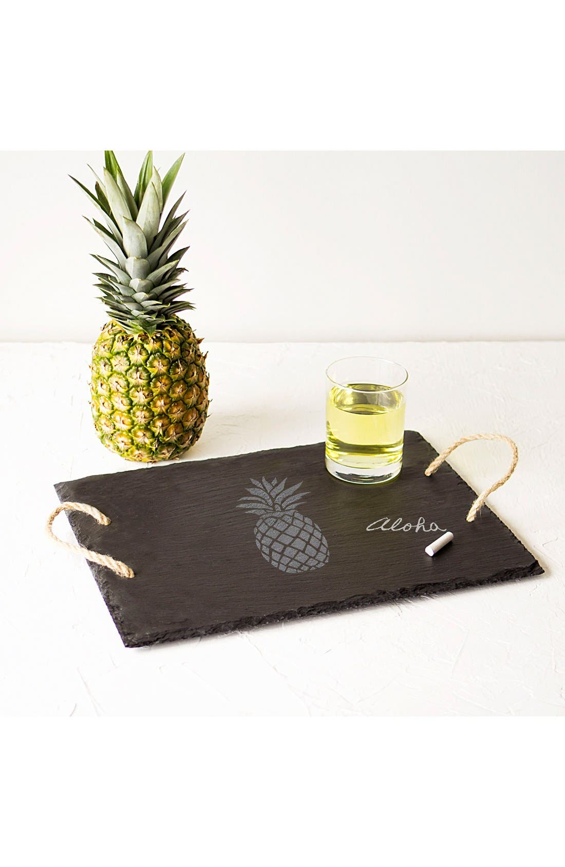 Pineapple Slate Serving Tray,                         Main,                         color, Grey