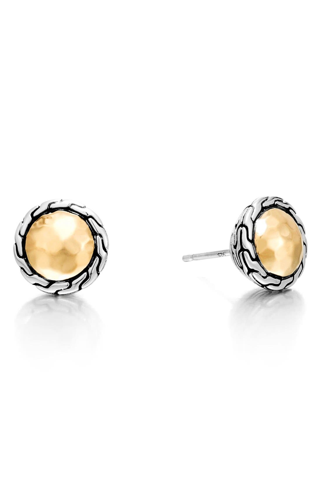 Classic Chain Hammered Stud Earrings,                         Main,                         color, Silver