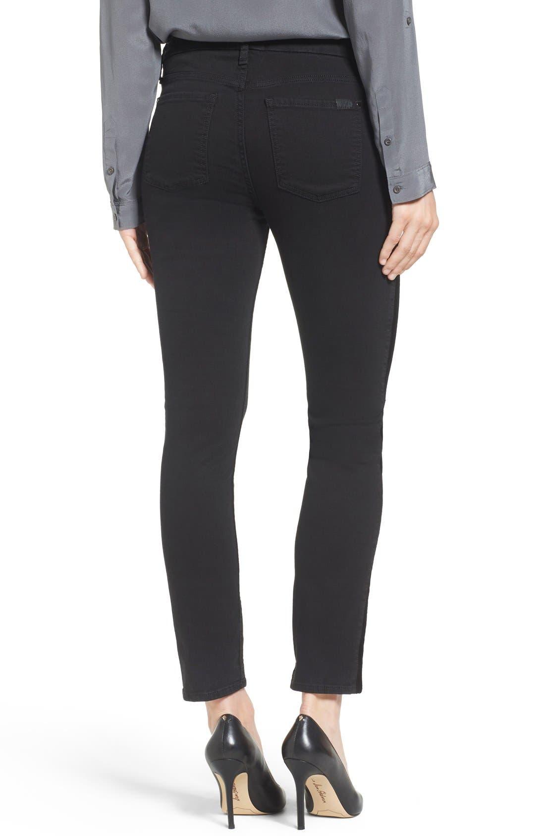 Tuxedo Stripe Skinny Jeans,                             Alternate thumbnail 2, color,                             Riche Touch Black Noir