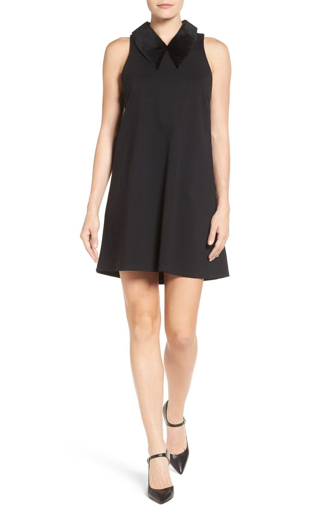 Faux Calf Hair Collar Dress,                         Main,                         color, Black