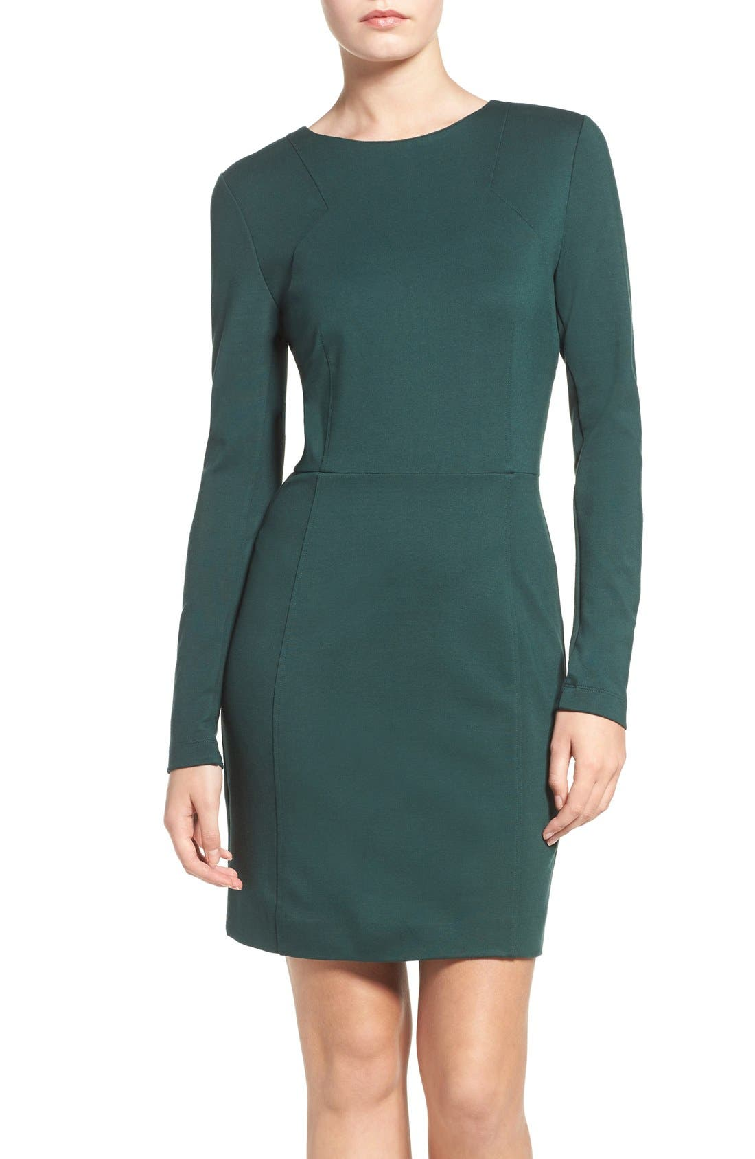 Lula Stretch Sheath Dress,                         Main,                         color, Pine Forest