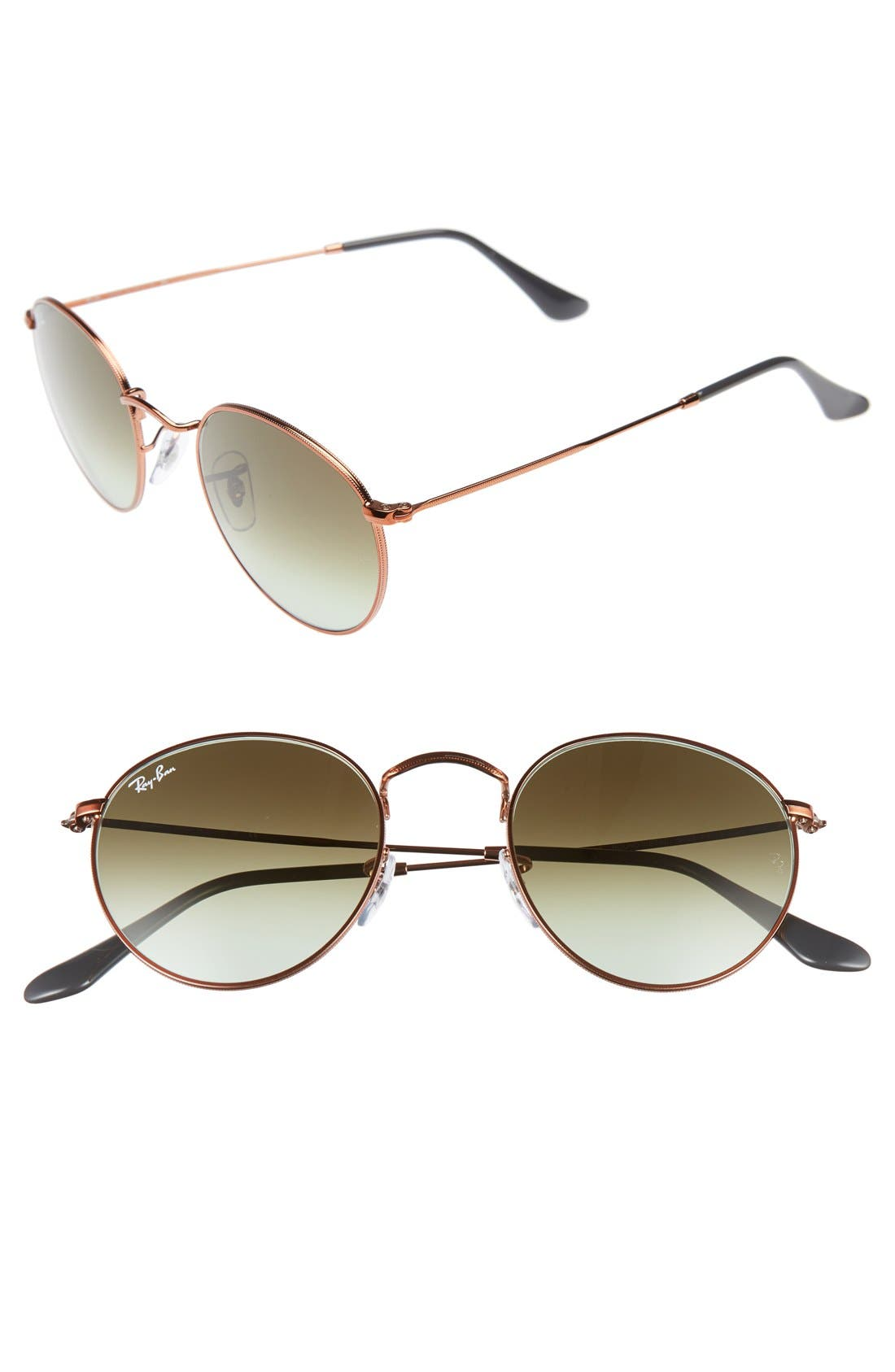 Icons 50mm Retro Sunglasses,                         Main,                         color, Green/ Brown
