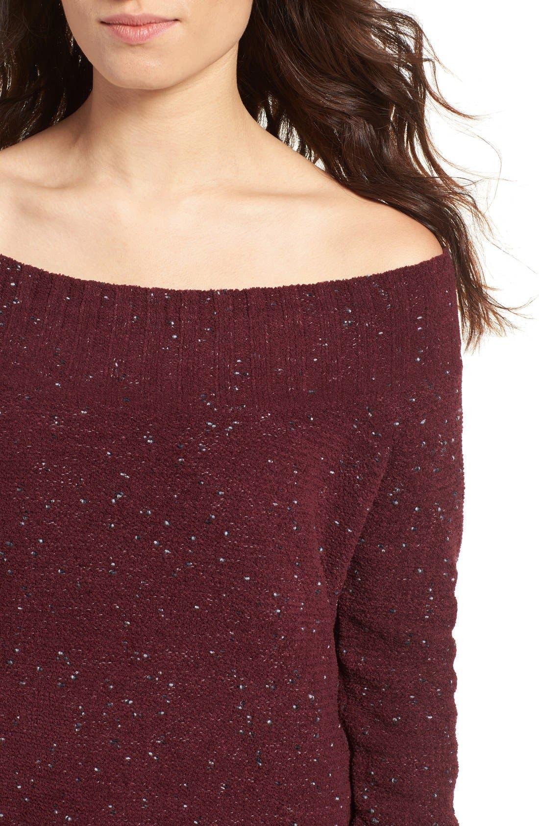 'Marilyn' Sweater,                             Alternate thumbnail 4, color,                             Burgundy Stem Chenille Combo
