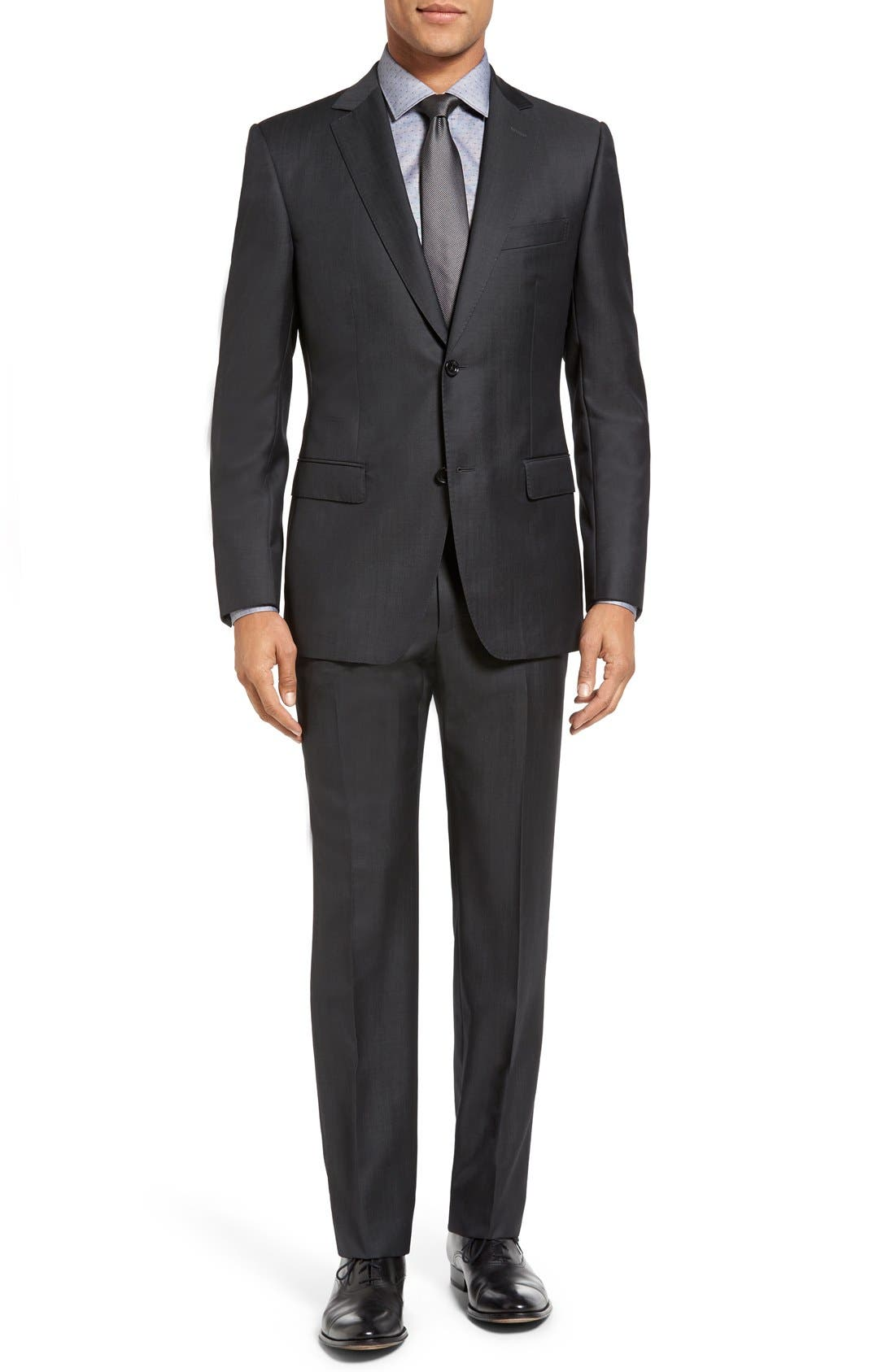 Trim Fit Solid Wool Suit,                         Main,                         color, Dark Grey