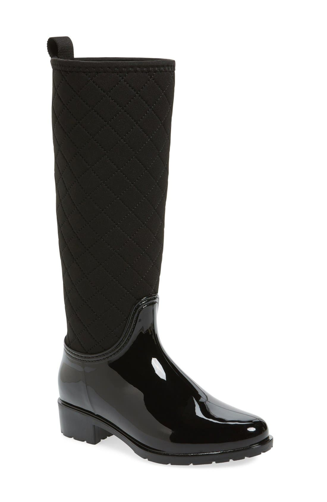 Parma Quilted Tall Waterproof Rain Boot,                             Main thumbnail 1, color,                             Black