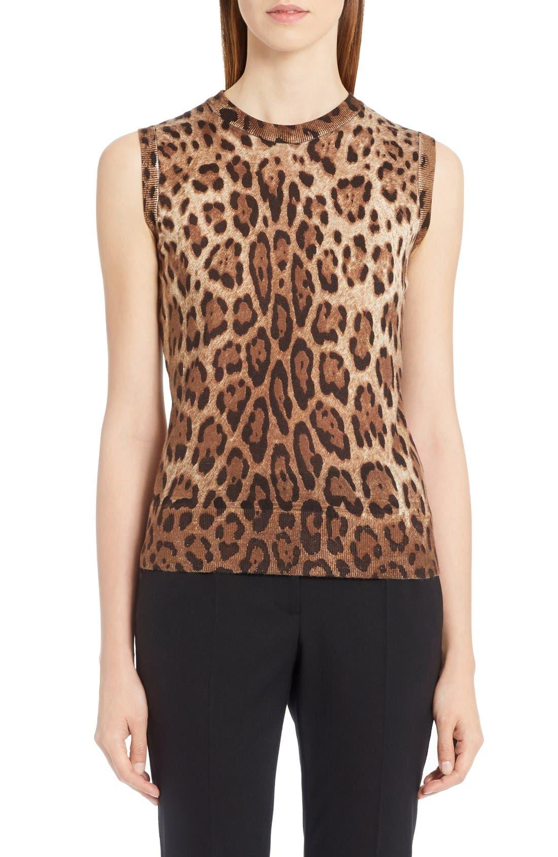 Main Image - Dolce&Gabbana Leopard Print Silk & Cashmere Sweater