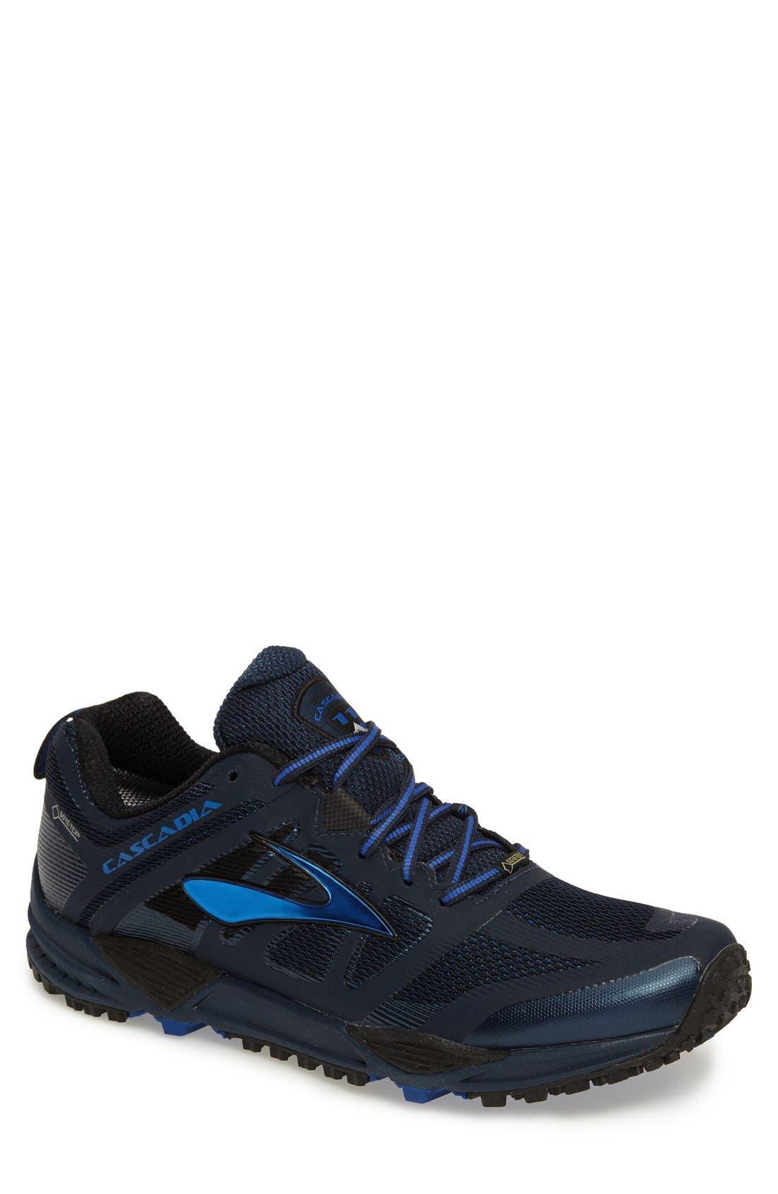 Cascadia 11 GTX Trail Running Shoe,                             Main thumbnail 1, color,                             Dress Blue/ Electric Blue