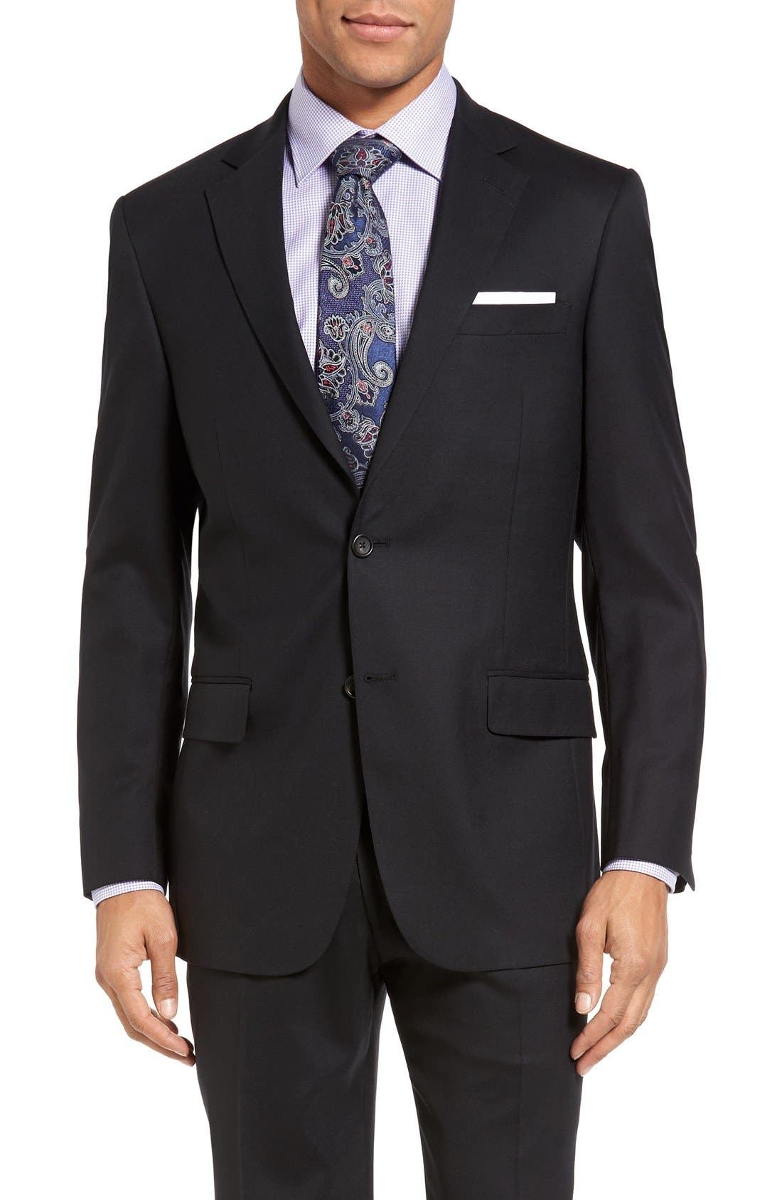 New York Classic Fit Solid Stretch Wool Suit,                             Alternate thumbnail 5, color,                             Black