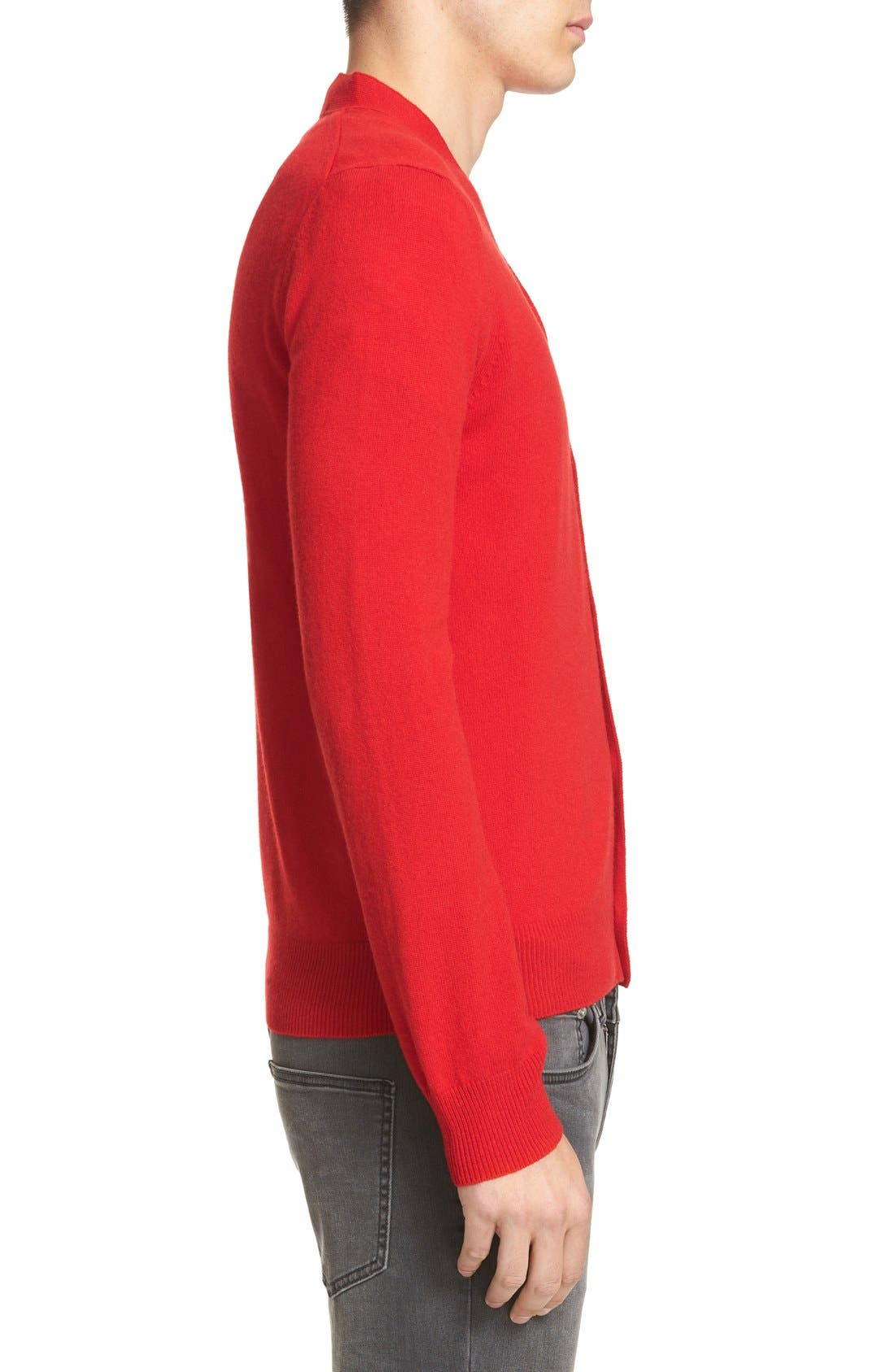 PLAY Double Heart Wool Cardigan,                             Alternate thumbnail 3, color,                             Red