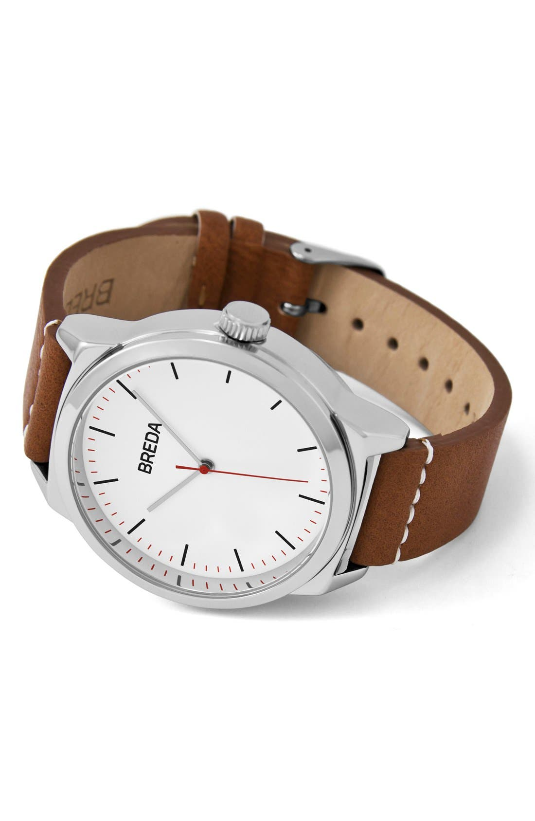 Rand Round Leather Strap Watch, 43mm,                             Alternate thumbnail 2, color,                             Silver/ Brown