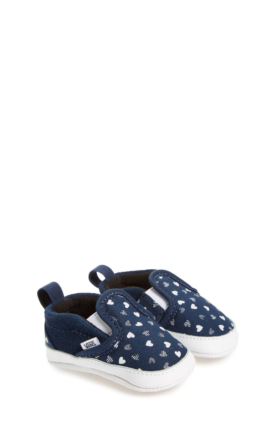 Slip-On Hearts Crib Shoe,                         Main,                         color, Blue