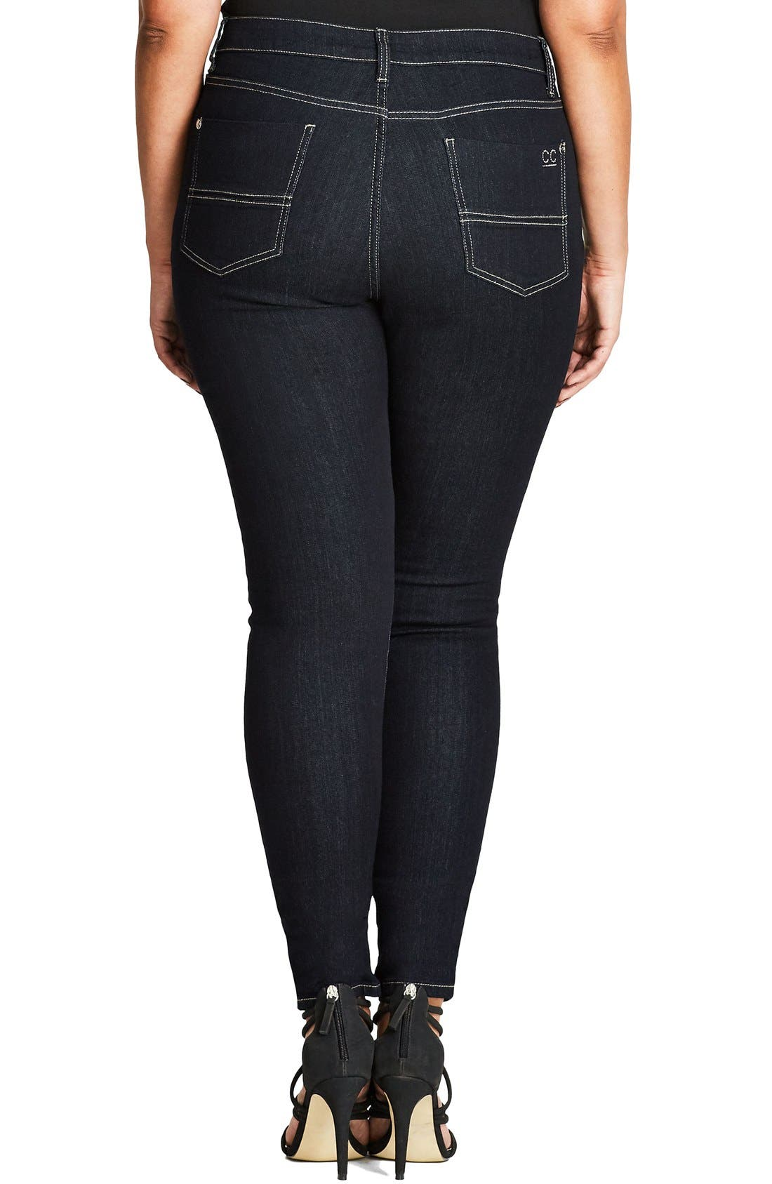 Glam Zip Skinny Jeans,                             Alternate thumbnail 2, color,                             Dark Denim