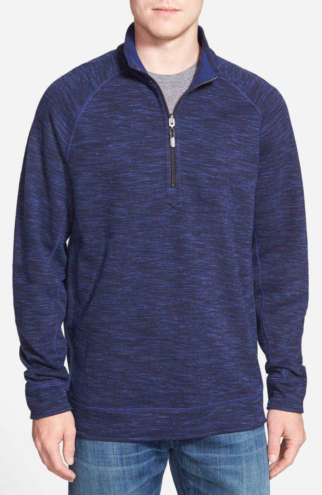 Main Image - Tommy Bahama Slubtropics Reversible Half Zip Pullover