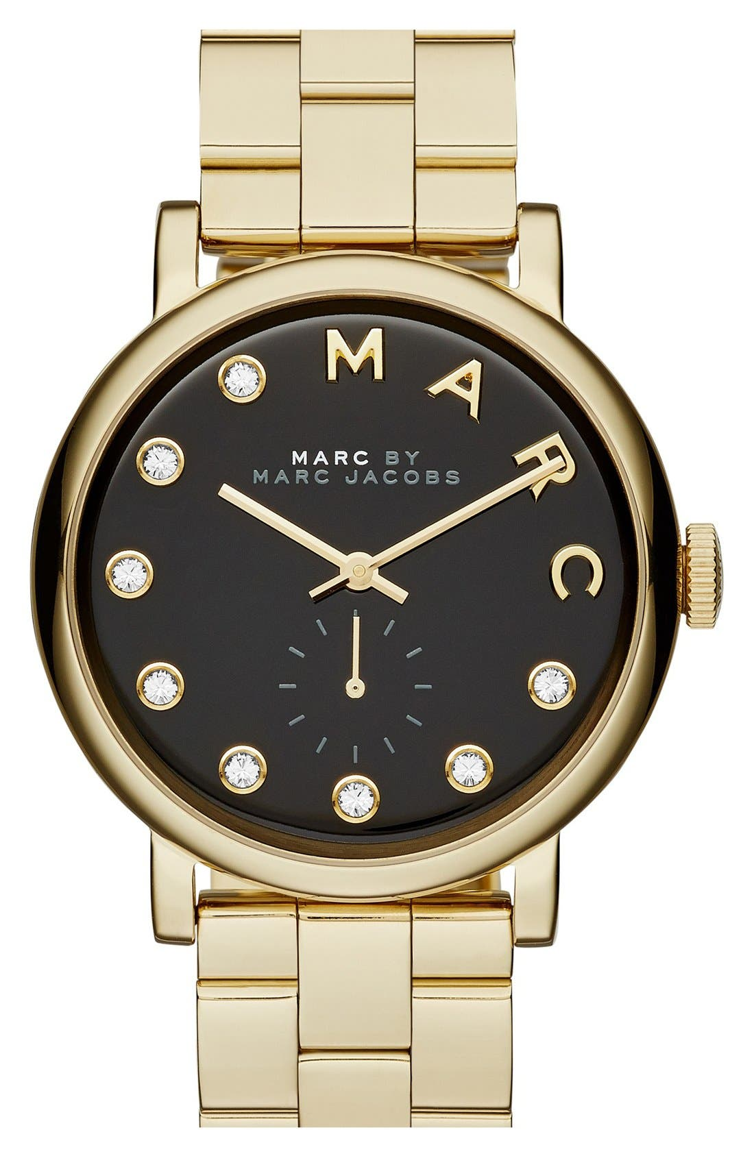 Alternate Image 1 Selected - MARC JACOBS Baker Crystal Index Bracelet Watch, 36mm