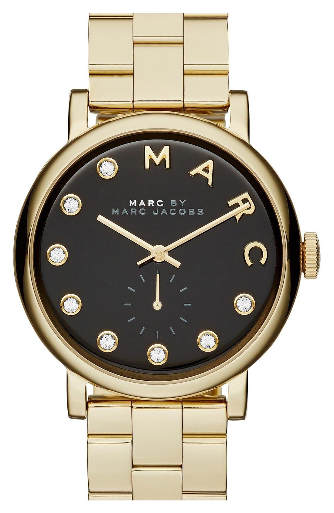 Main Image - MARC JACOBS Baker Crystal Index Bracelet Watch, 36mm