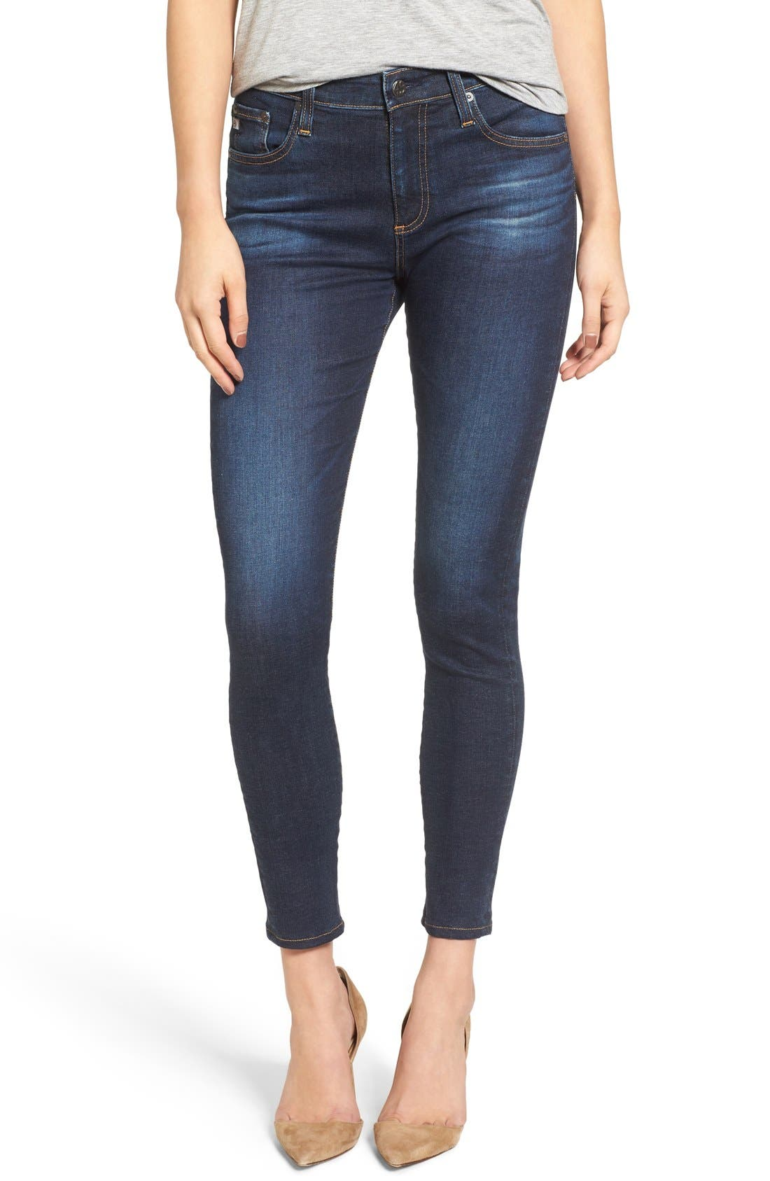 Alternate Image 1 Selected - AG The Farrah High Waist Ankle Skinny Jeans (02 Years Beginnings) (Nordstrom Exclusive)