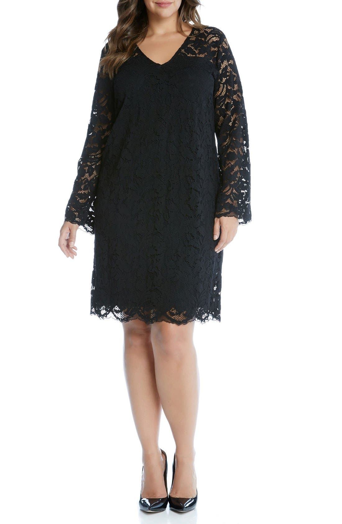 Alternate Image 2  - Karen Kane Lace A-Line Dress (Plus Size)