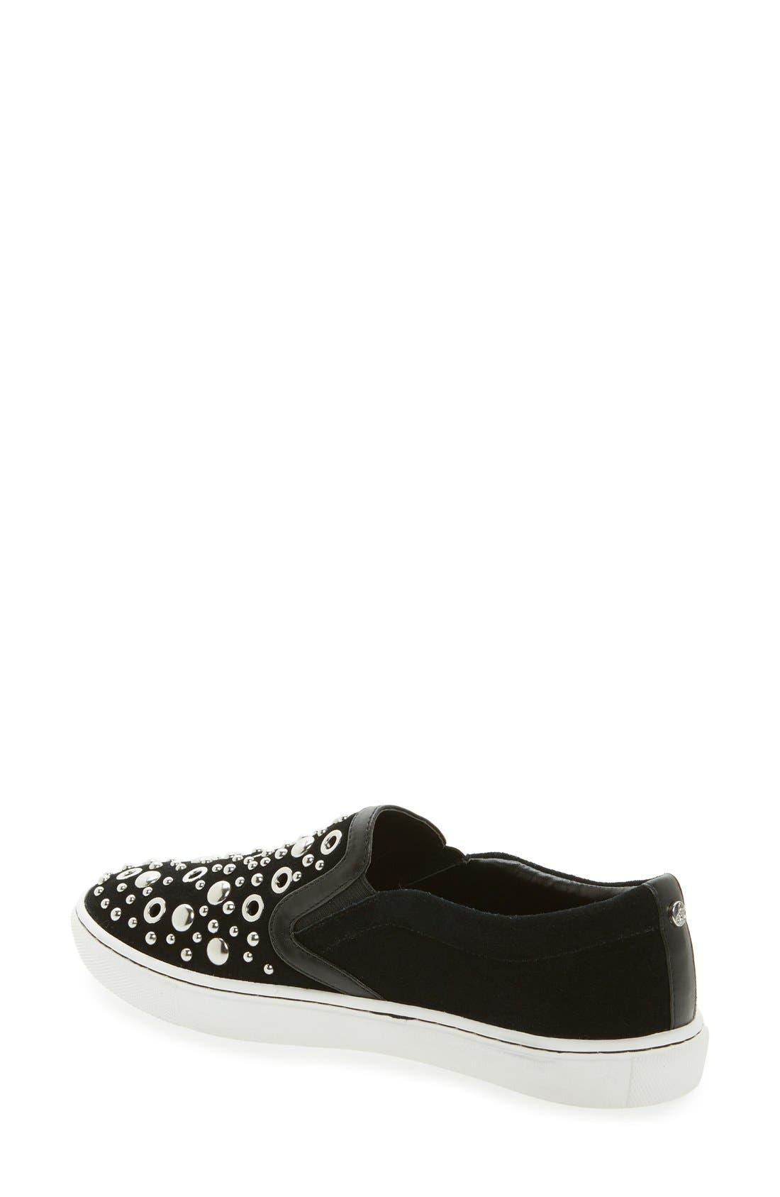 Paven Embellished Slip-On Sneaker,                             Alternate thumbnail 2, color,                             Black