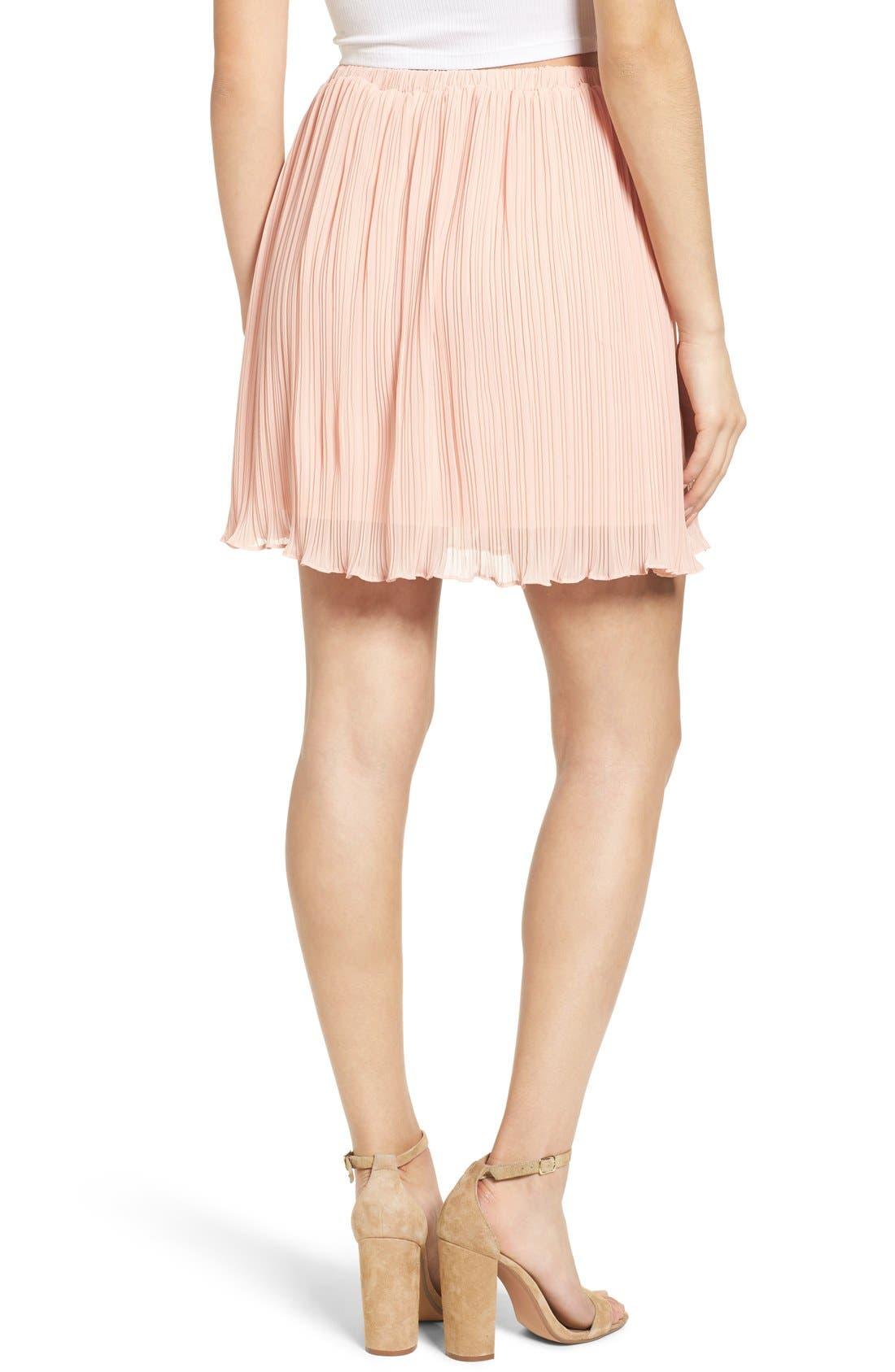 Alternate Image 3  - Lush Pleated Chiffon Miniskirt