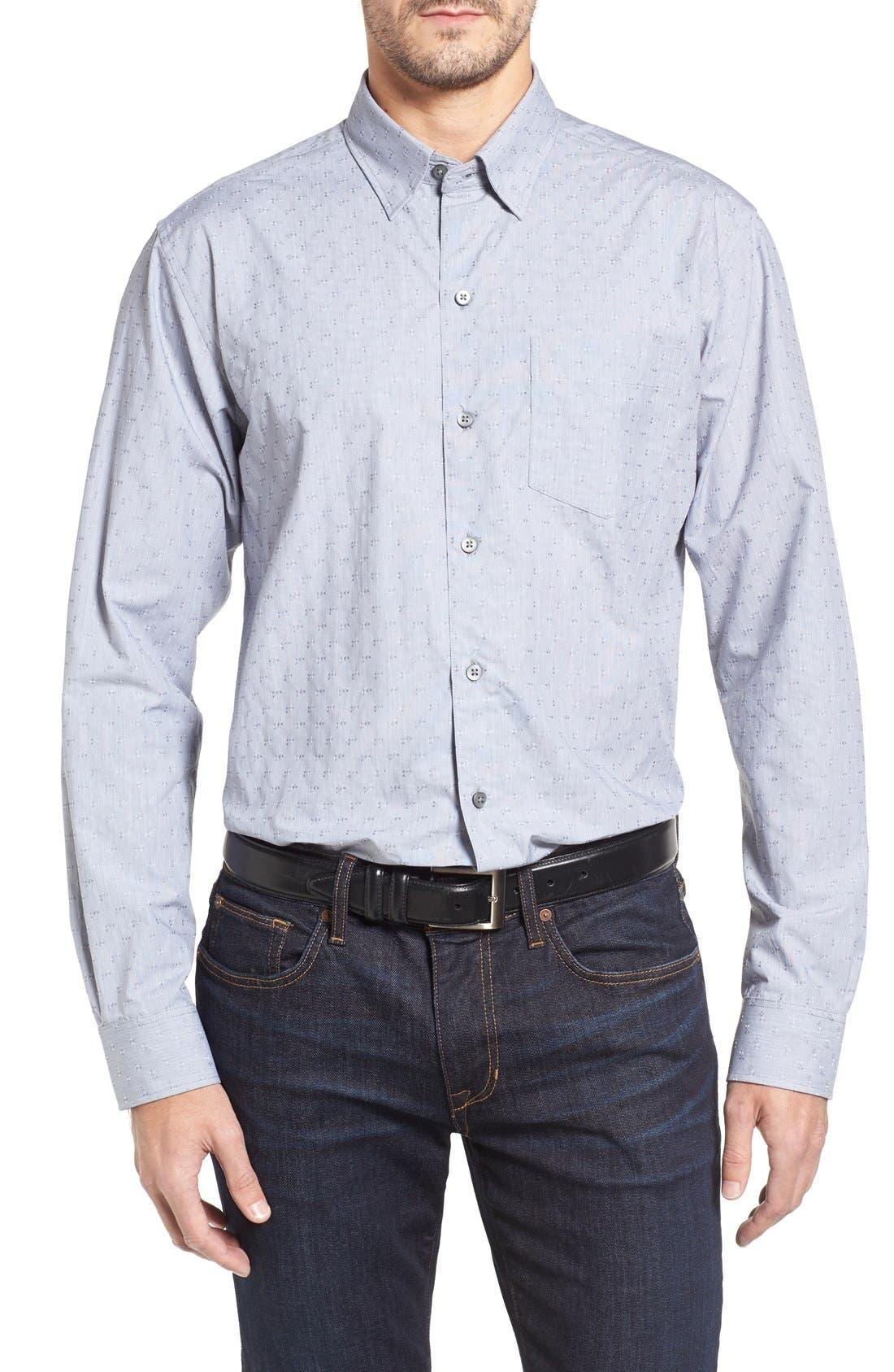 Starboard Jacquard Sport Shirt,                             Main thumbnail 1, color,                             Grey/ Multi