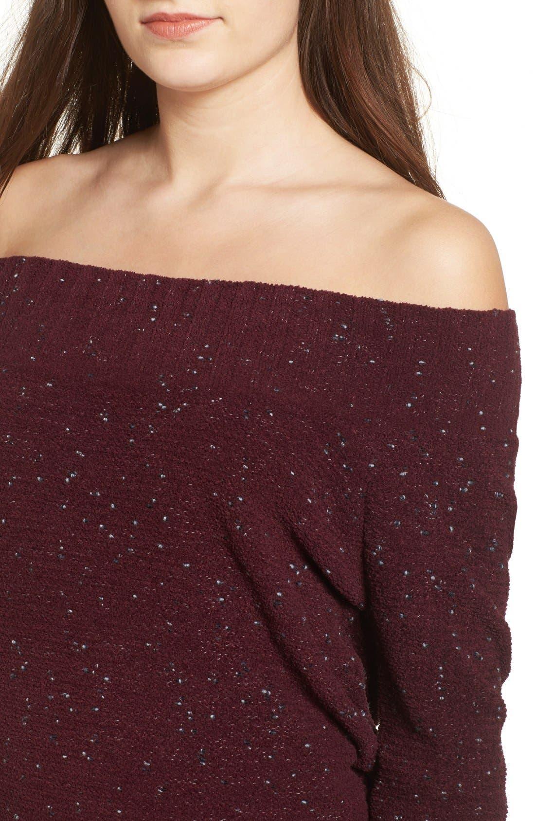 'Marilyn' Sweater,                             Alternate thumbnail 7, color,                             Burgundy Stem Chenille Combo