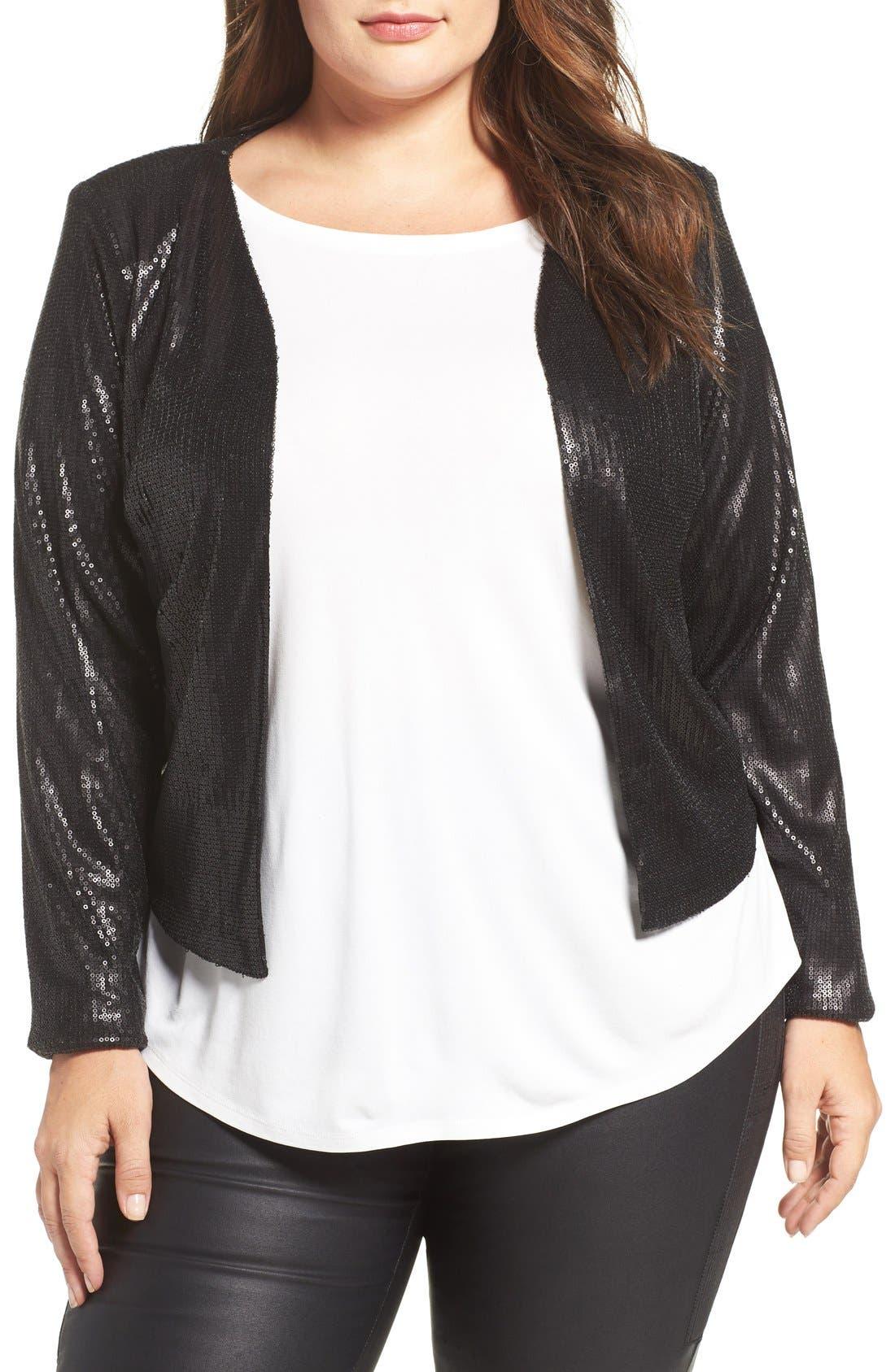City Chic Crop Sequin Jacket (Plus Size)