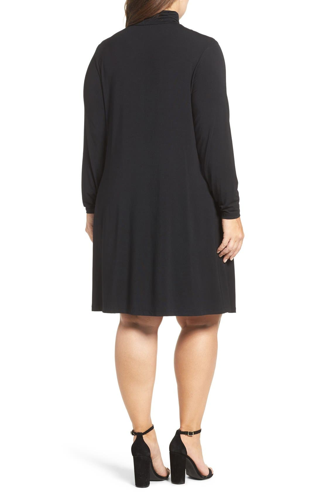 Sally Turtleneck A-Line Dress,                             Alternate thumbnail 2, color,                             Black