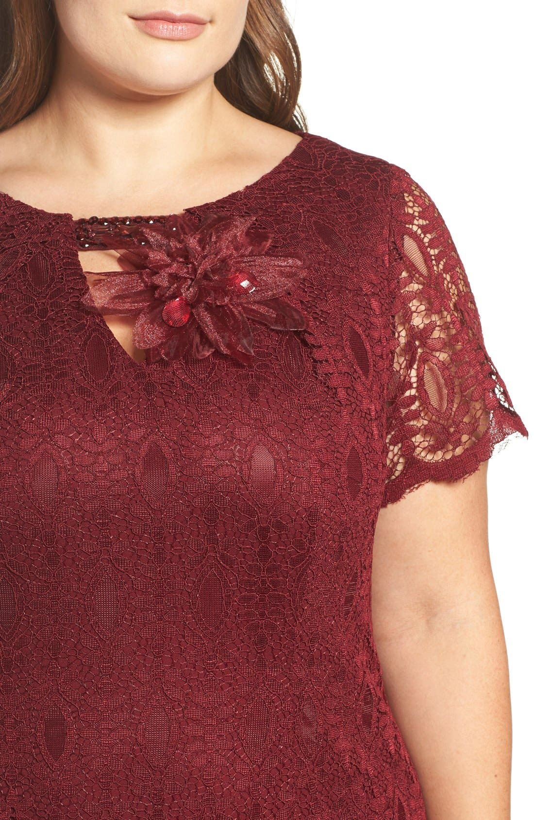 Embellished Lace Mermaid Gown,                             Alternate thumbnail 4, color,                             Garnet