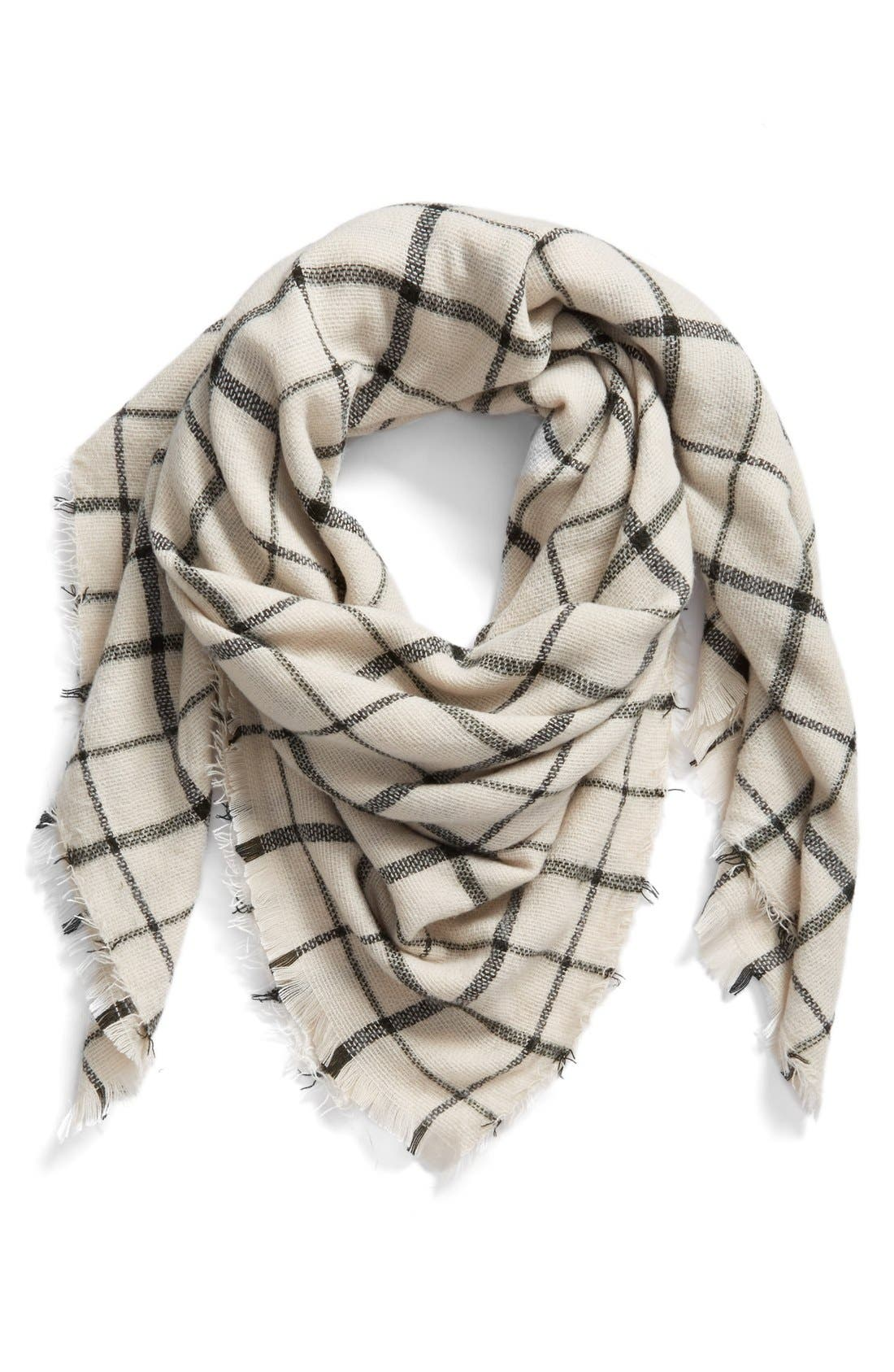 Check Scarf,                         Main,                         color, Ivory
