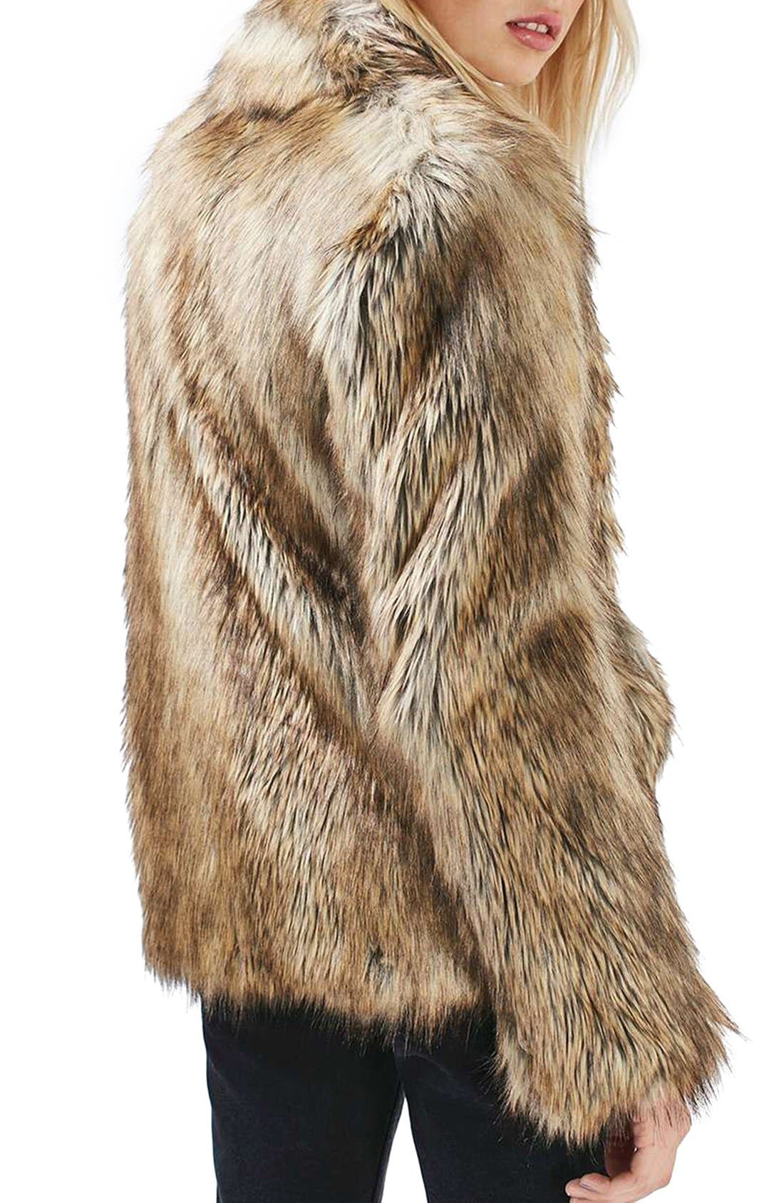 Kate Faux Fur Coat,                             Alternate thumbnail 3, color,                             Brown