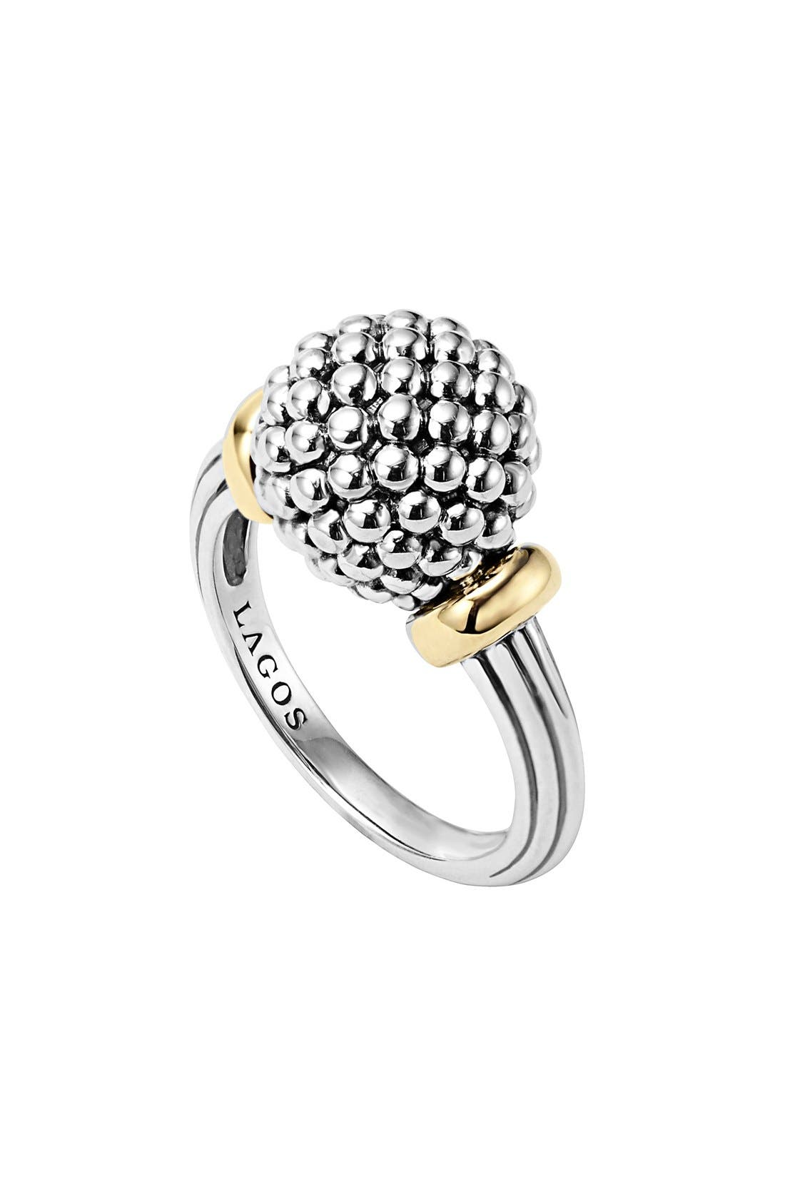 Caviar Forever Medium Dome Ring,                         Main,                         color, Silver