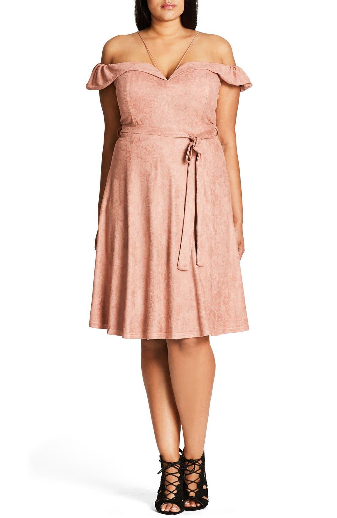 City Chic Ooh La La Faux Suede Dress (Plus Size)