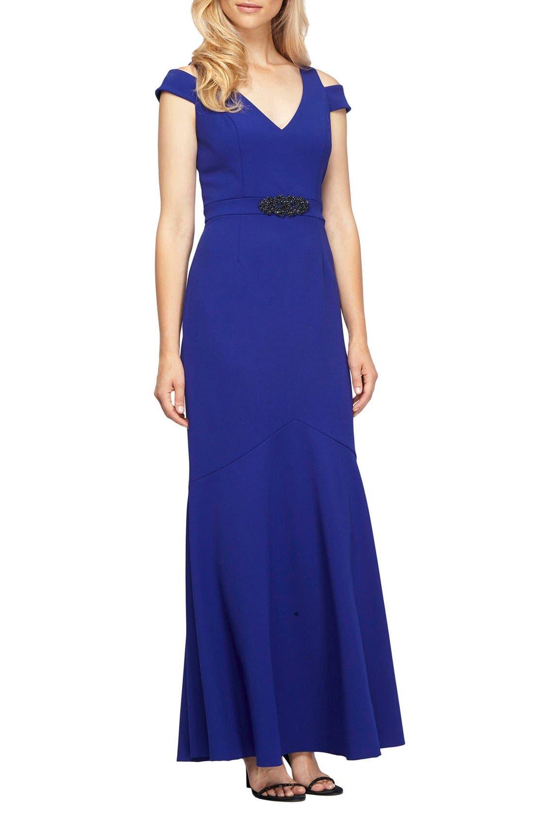 Embellished Cold Shoulder Gown,                             Main thumbnail 1, color,                             Bright Royal