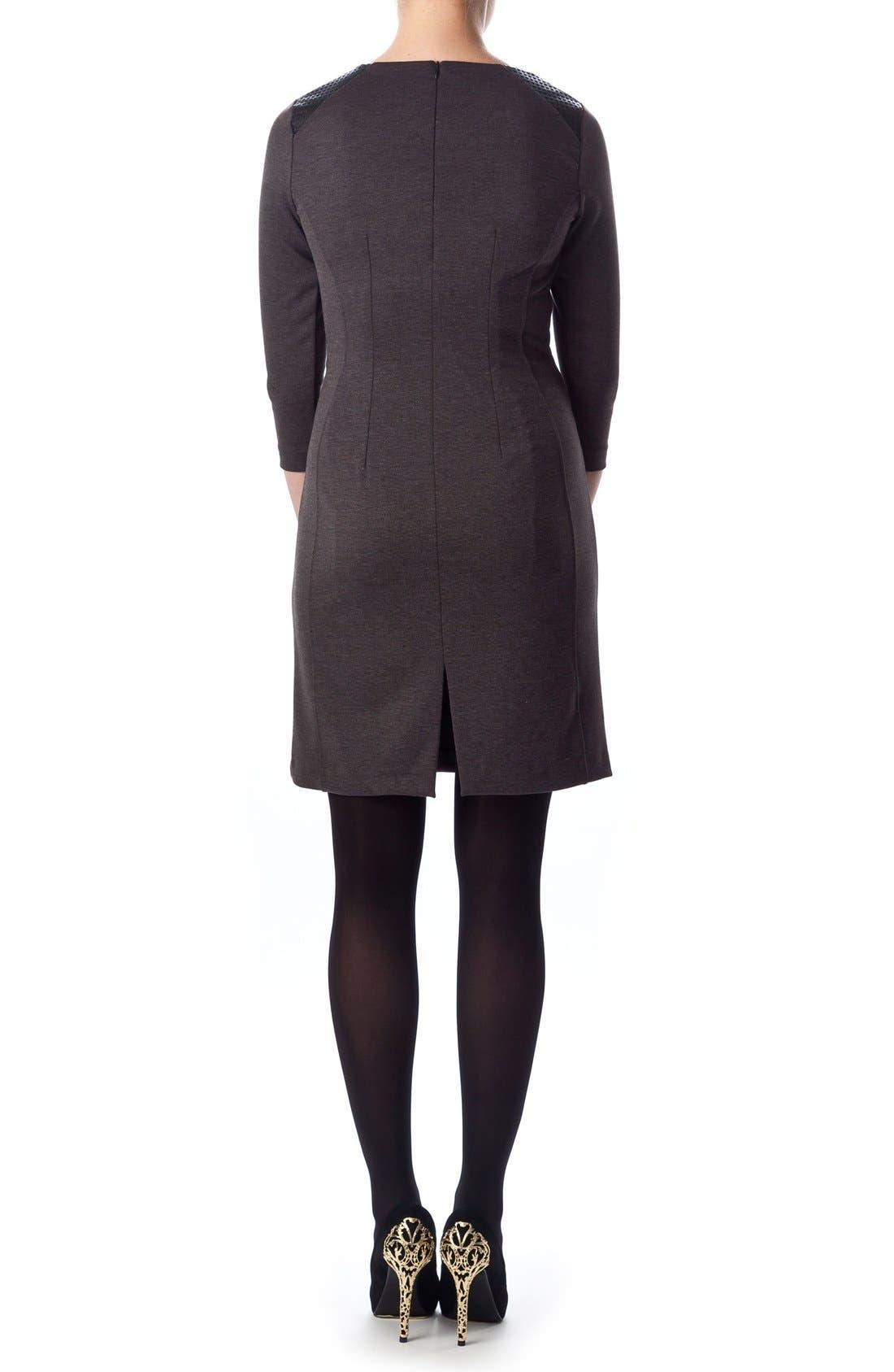 Milano Ponte Dress,                             Alternate thumbnail 2, color,                             Dark Grey Melange/ Black