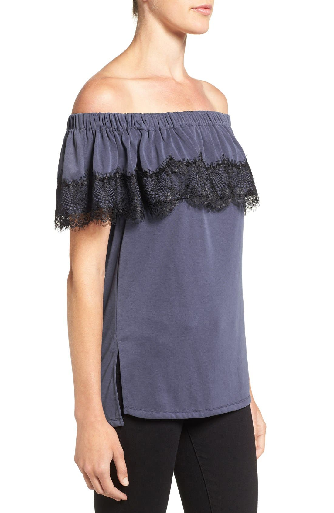 Alternate Image 3  - Ella Moss 'Isabella' Lace Trim Off the Shoulder Top